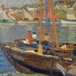 Fishing Boats in Harbor by George Evans