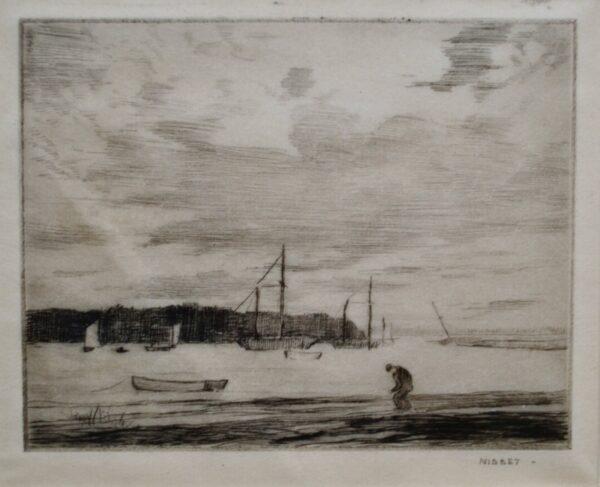 Harbor Scene by Robert Hogg Nisbet