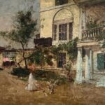 Woman in Courtyard by Max Weyl