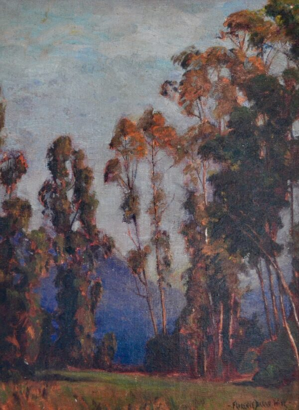Landscape with Trees and Purple Mountain by Florence Baran Wise