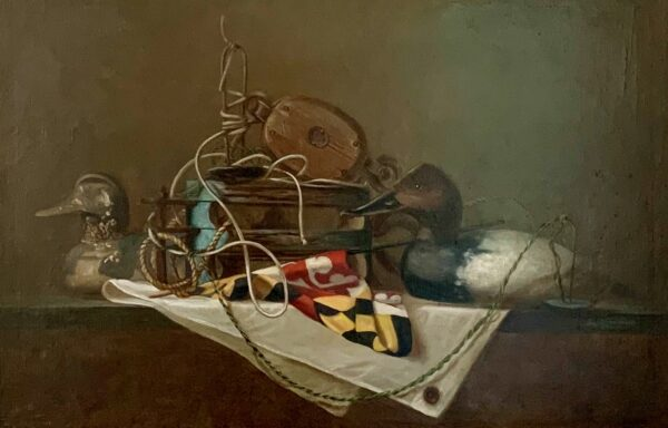 """Guy Steele Fairlamb, """"Still Life with Decoys and Maryland State Flag"""""""