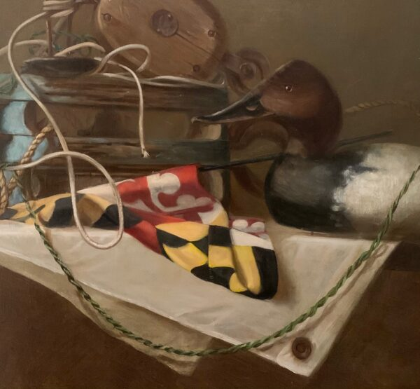 """Guy Steele Fairlamb, Detail """"Still Life with Decoys and Maryland State Flag"""""""