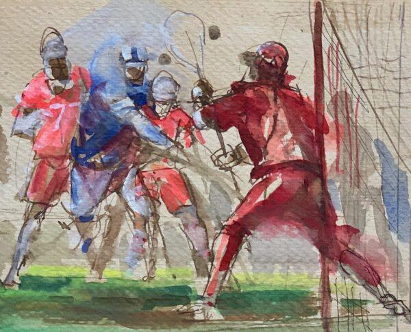 """Guy Fairlamb, """"Shot on Goal"""" (Detail)"""