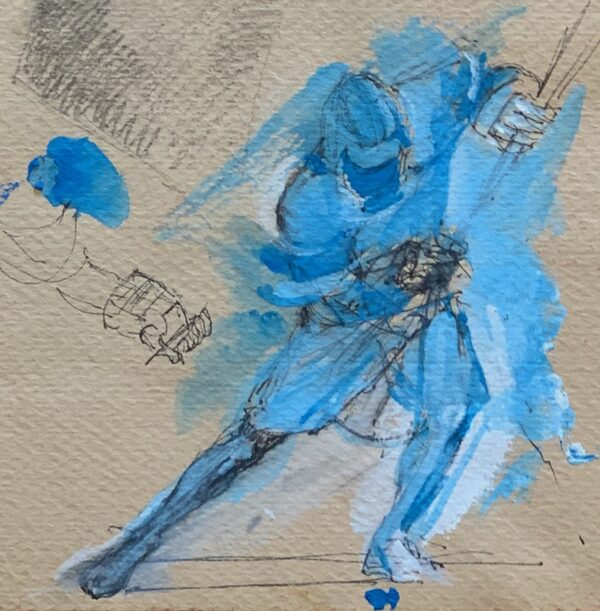 "Detail of Verso: Guy Fairlamb, ""Lacrosse: Blue on Offense"""