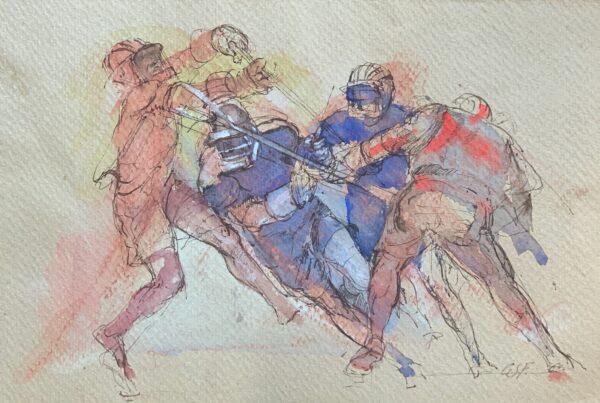 "Guy Fairlamb, ""Lacrosse: Blue on Offense"""