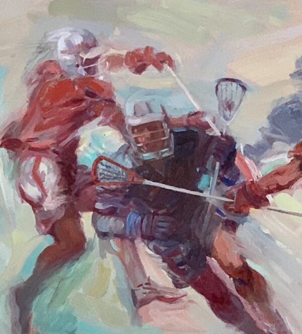 "Guy Fairlamb, ""Lacrosse: Players in Motion"" (detail)"